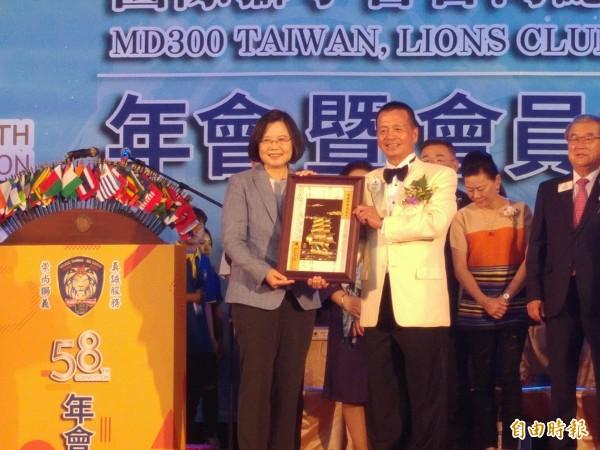 總統蔡英文參加國際獅子會台灣總會活動。(記者涂鉅旻攝)