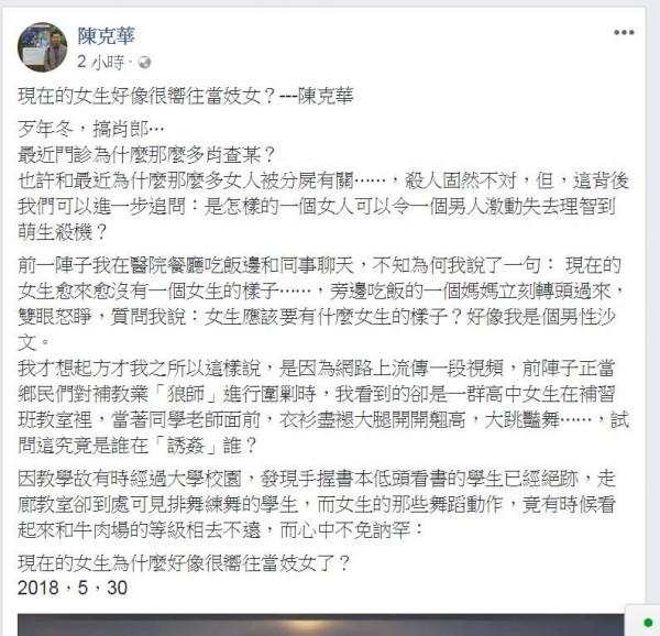 陳克華今日在臉書接連發出,以「現在的女生好像很嚮往當妓女?」以及「今天又遇到肖查某」為題的文章,疑似藉此發文議論健身教練殺害女友分屍一案。(圖擷取自蕭瑩燈臉書)