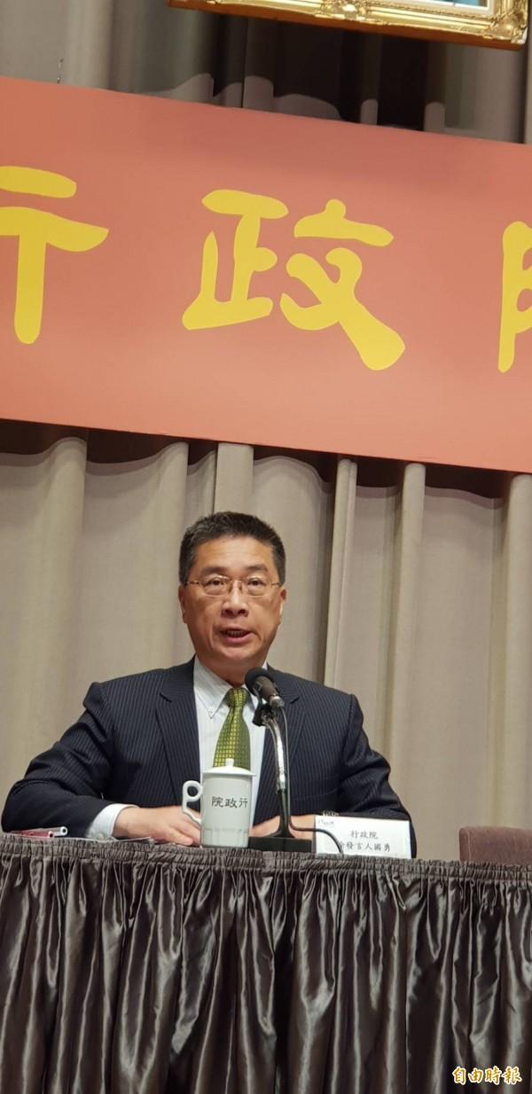 行政院發言人徐國勇表示,今年不太可能限電。(記者李欣芳攝)