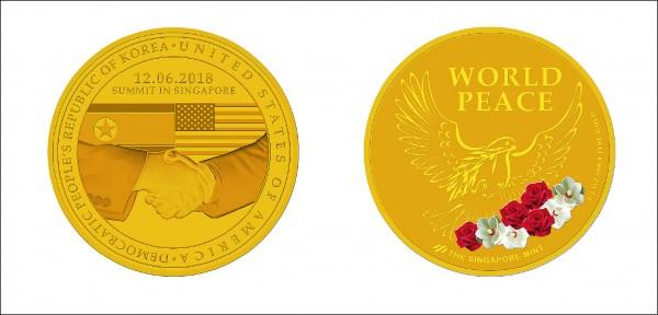 新加坡擬發行川金會紀念幣。(法新社)