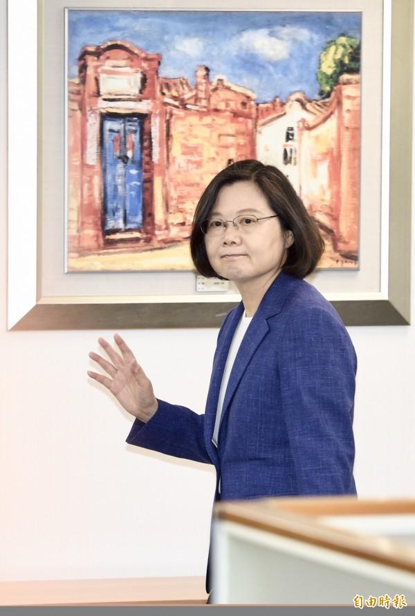 民進黨主席、總統蔡英文6日主持民進黨中常會。(記者羅沛德攝)