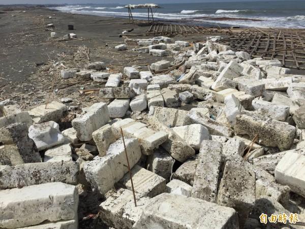 台南四鯤鯓海岸散佈上千廢棄保麗龍沒人清。(記者蔡文居攝)