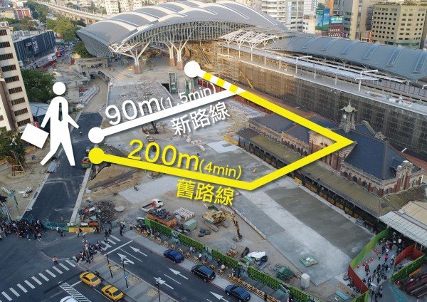 鐵工局開放部分區域作為人行通道,相較經舊車站的動線,縮短110公尺。(台中市交通局提供)