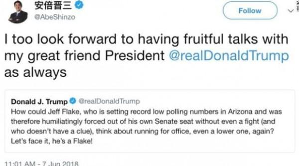 安倍晉三原欲透過推特與川普隔空對話,沒想到卻轉推錯誤推文,鬧出笑話。(擷取自推特)
