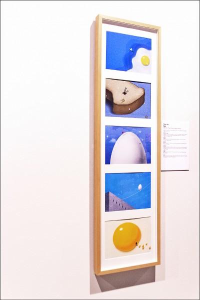 吳箏此次獲獎作品「Eggs」,為雜誌內頁設計,他嘗試將視覺設計作品與數位插畫表演結合,盼讓觀者能夠對蛋產生更多的興趣與想像空間。(吳箏提供)