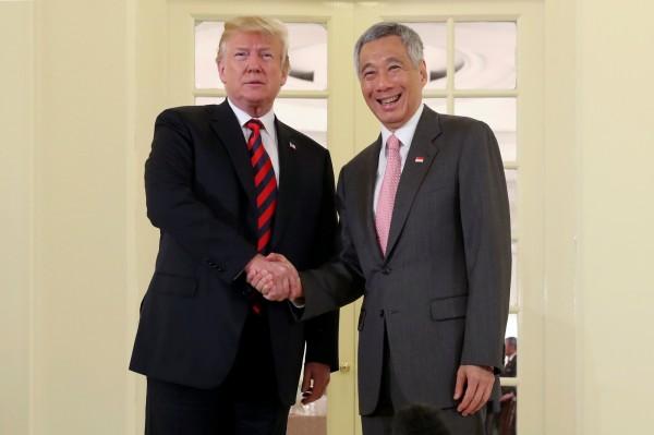 川普與李顯龍會晤順利,11月將再訪新加坡。(路透)