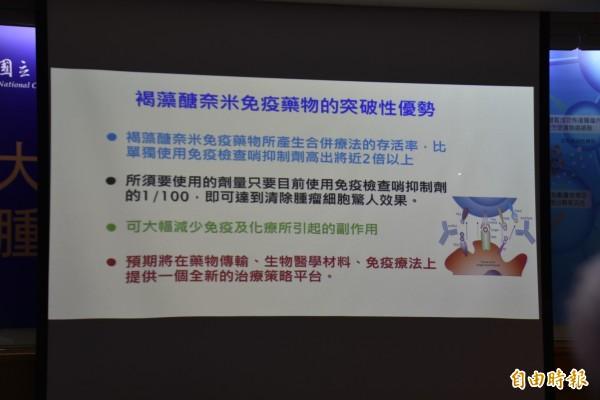 交通大學與中國醫藥大學攜手,開創「褐藻醣奈米免疫療法」,結合奈米粒子,能將抗癌藥物直接帶到癌細胞旁,並增益T細胞增長,達到比一般免疫藥物更精準的療效,抗癌藥劑量也只需百分之一,就有顯著效果。(記者吳柏軒攝)