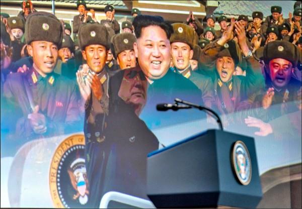 美國總統川普十二日召開「川金會」後的記者會前,播放影片向北韓領導人金正恩喊話,「棄核可換取來自全球的投資」。(歐新社)