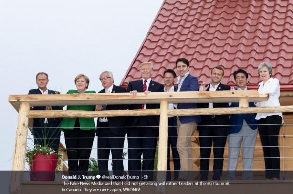 G7領袖和樂融融。(圖取自川普推特)