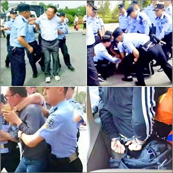 中國安徽省六安市、宿松縣自五月下旬以來,陸續傳出退休和現任教師集體向地方當局抗議,要求發放拖欠獎金,卻遭警方強力鎮壓情事。從網路上散播的照片看來,和平請願的教師遭強勢警力壓制、勒住脖子、上手銬。當局則辯稱,只是少數員警的動作較為粗魯。(取自網路)