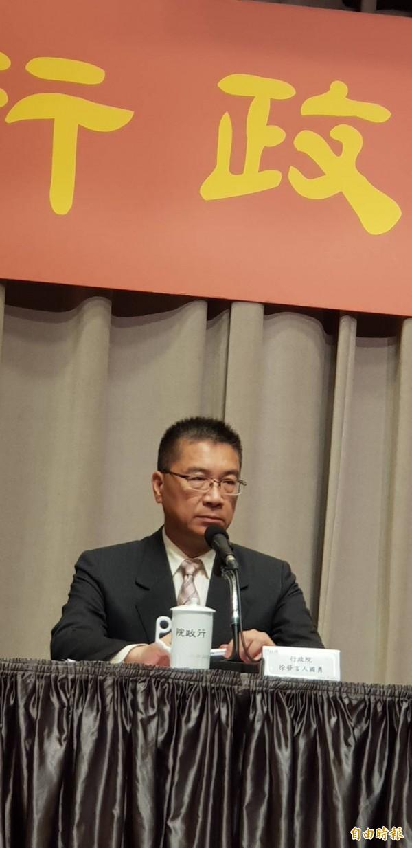 (記者李欣芳攝)行政院發言人徐國勇表示,政院希望軍人年改在七月一日實施。