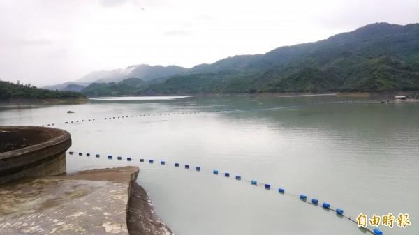 降雨挹注,南化水庫蓄水率已經提升到55%。(記者吳俊鋒攝)