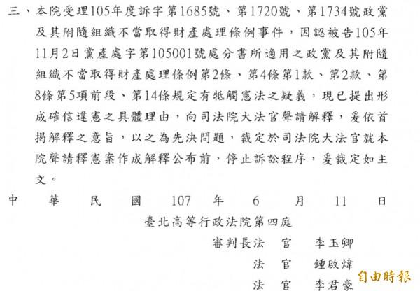 台北高等行政法院6月11日裁定,因認黨產條例有違憲疑義,在大法官釋憲前,停止訴訟程序。但法律學者認為北高行法官所寫釋憲聲請書見解太粗淺,悖離台灣社會經驗。(記者陳鈺馥攝)