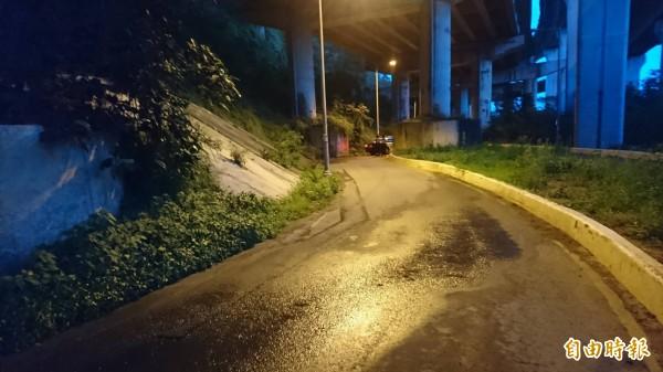 新竹縣竹東派出所警車值勤時疑似在這個彎道駛過水窪後失控,撞上前方的高架橋橋墩。(圖由警方提供)