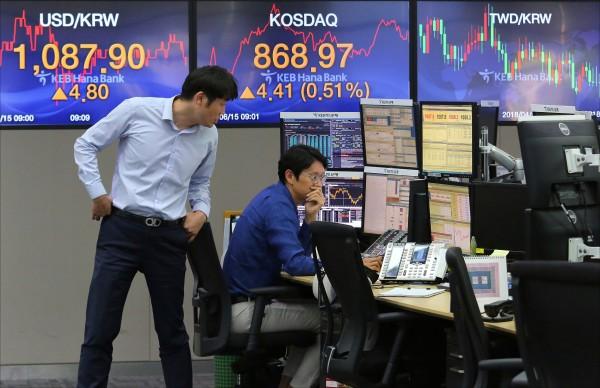 圖為南韓首爾一家銀行的外匯交易室,員工上班時的情形。(美聯社)