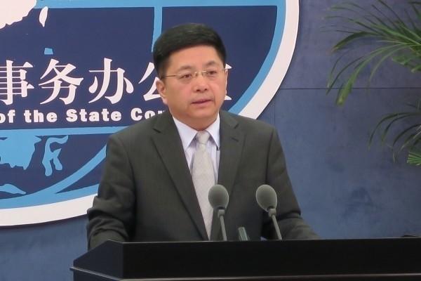 國台辦今天舉辦例行記者會時批評蔡英文「不自量力」。(中央社)