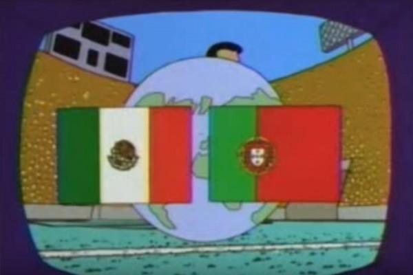 有網友挖出《辛普森家庭》在21年前播出葡萄牙對戰墨西哥劇情,認為是預告本屆世界盃的冠軍賽戲碼。(圖擷自YouTube)