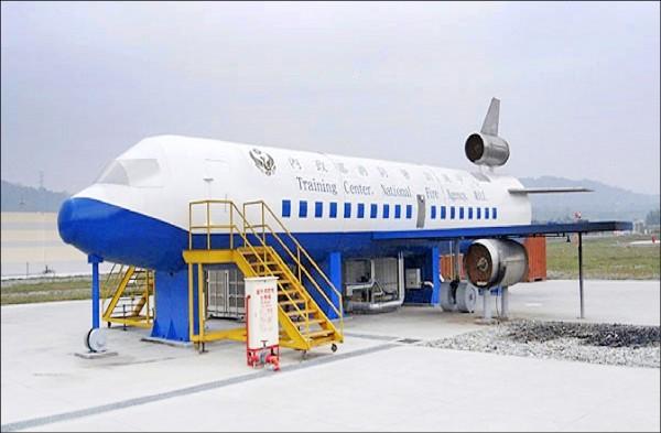 航空災害事故搶救訓練場。(消防署訓練中心提供)