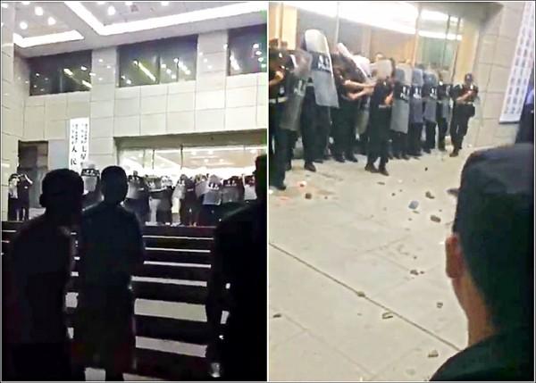 中國浙江嘉興市六月卅日爆發示威,不滿徵地措施的民眾,拿磚石攻擊武警。(取自網路)