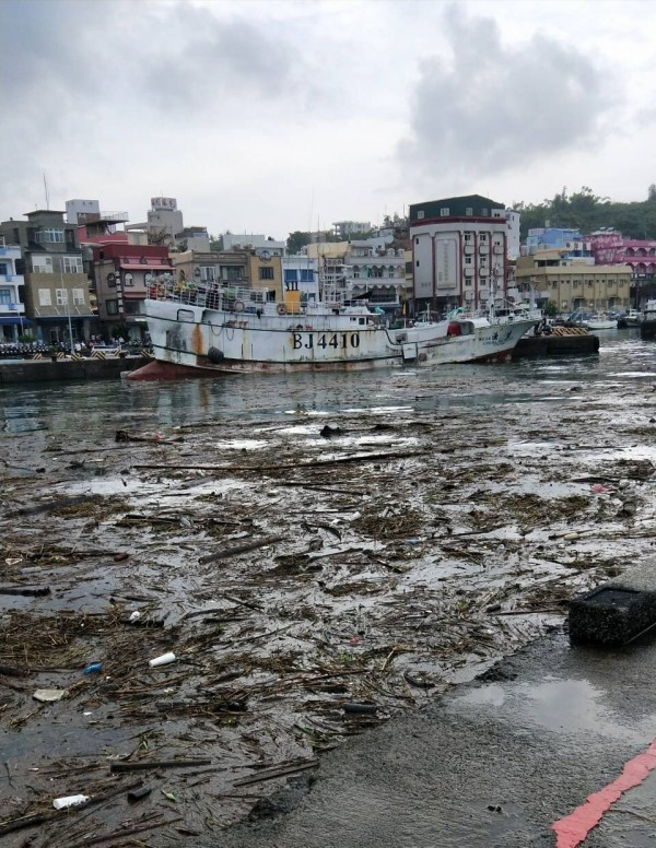 小琉球白沙港區內全採塞滿漂流木、垃圾、布袋蓮等。(記者陳彥廷翻攝)