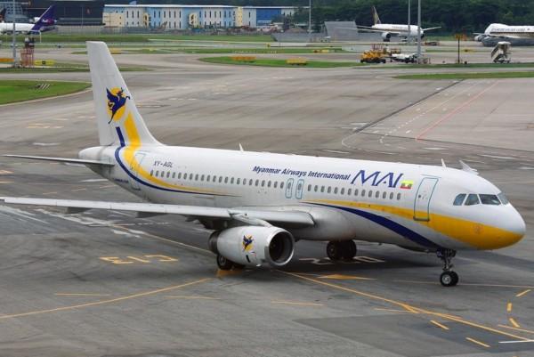 緬甸國際航空的A319噴射機。(記者蔡宗憲翻攝)