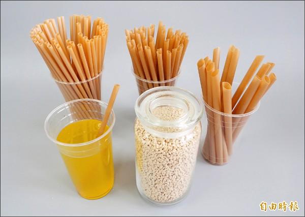 利用甘蔗渣製作的甘蔗纖維吸管有台灣特色,不只分大中小,而且還有斜口設計。另瓶子裝的就是原料粒子。(記者陳鳳麗攝)