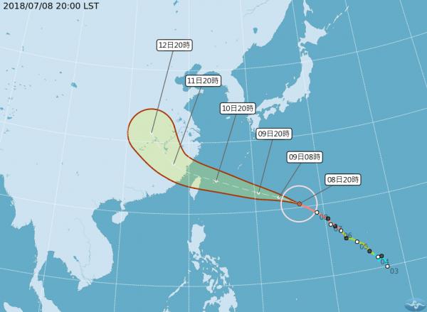 強颱瑪莉亞持續朝台灣北部海面前進,最快明日下午發布海上颱風警報,週二(10日)早上發布陸上颱風警報。(圖擷取自中央氣象局)