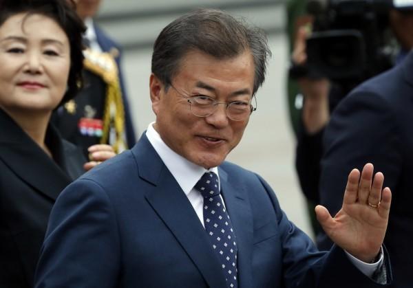 南韓總統文在寅的前國防參謀官李昌衡,日前到國防大學演講,並與我方交換對中共研究資料。圖為南韓總統文在寅。(美聯社)