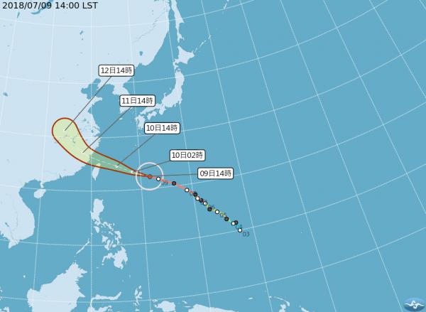 強烈颱風瑪莉亞進逼。(圖擷取自中央氣象局)