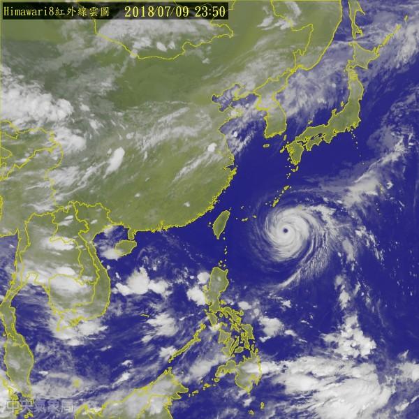 強颱瑪莉亞持續逼近,台北市政府今(9日)晚間9時二級開設災害應變中心,並將於明(10日)早8時提升為一級開設。(圖擷取自氣象局網站)