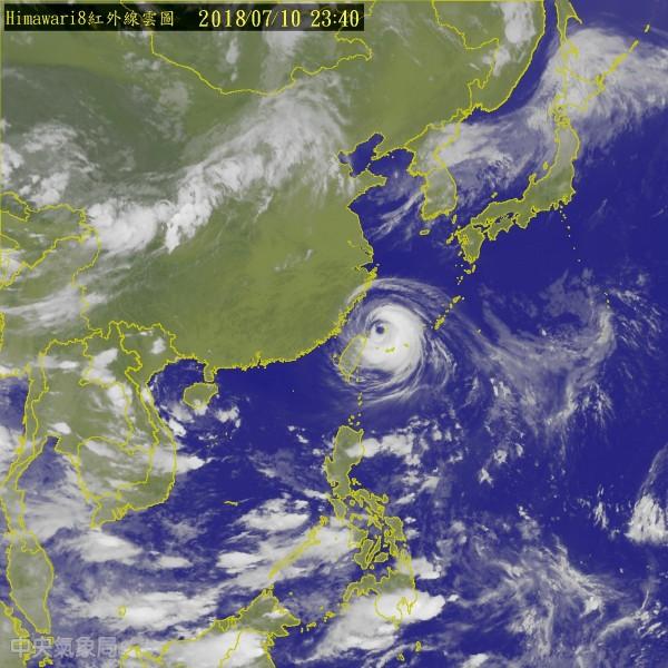 受瑪莉亞颱風來襲影響,新北等7縣市11日停班停課,台北市則是正常上班上課。(圖擷取自中央氣象局)