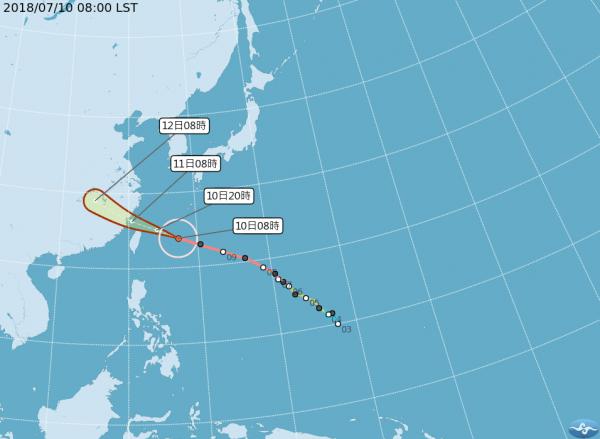 瑪莉亞颱風來襲,多家航空公司明日部分航班取消或延遲起飛。(圖擷取自中央氣象局)