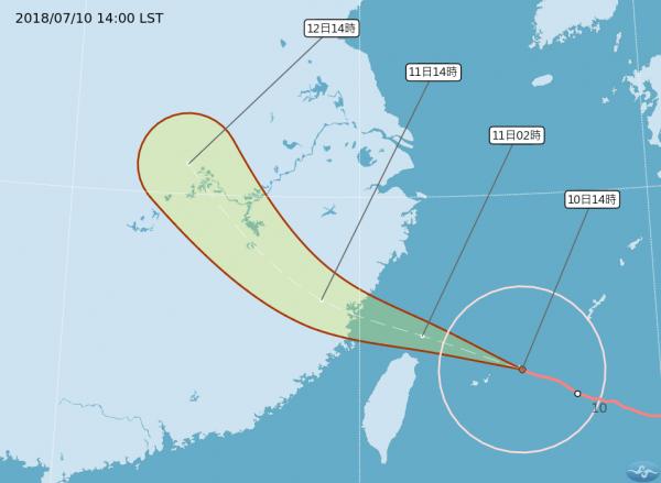 航空公司因應瑪莉亞颱風來襲,今明兩天,台中國際機場部分國內及國際航班取消或延後。(圖擷取自中央氣象局)