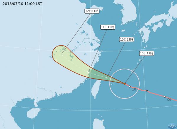 強烈颱風瑪莉亞來襲。(圖擷取自中央氣象局)