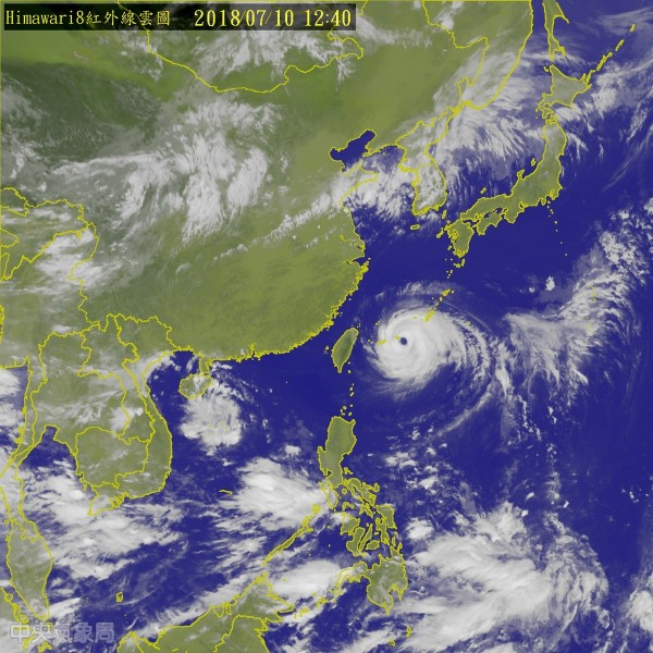 強颱「瑪莉亞」來勢洶洶,北北基宣布下午4時停班課。(圖擷取自中央氣象局)
