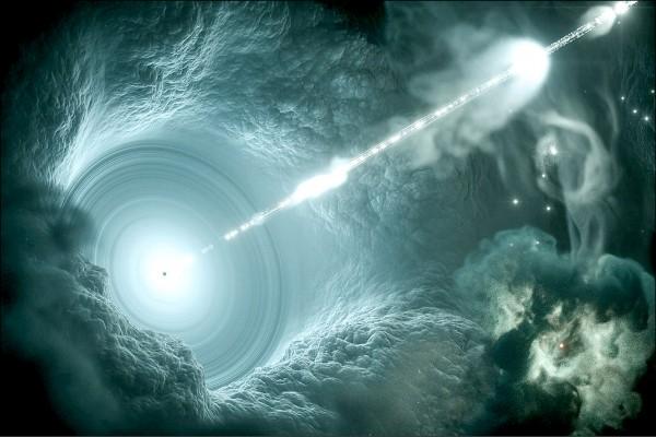 冰立方天文台觀測到的微中子,相信是由一個遙遠「耀變體」中心巨大黑洞產生的噴流向地球方向推進。圖為畫家繪製的想像圖。(取自美國國家科學基金會網站)