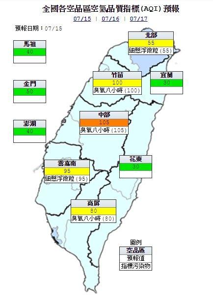 明日中部空品區為「橘色提醒」等級;北部、竹苗、雲嘉南及高屏空品區為「普通」等級;宜蘭、花東、馬祖、金門及澎湖空品區為「良好」等級。(圖擷取自環保署空品監測網)