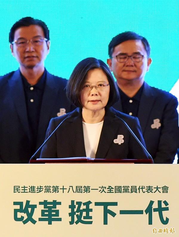 蔡英文致詞表示,民進黨過去所推動的改革,造就了現在的民主台灣,歷史也證明當年的堅持,造福下一代的台灣人。(記者方賓照攝)