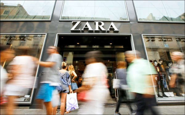 去年全球服飾品牌中,主打ZARA等品牌的西班牙時裝集團印地紡(Inditex),全球市占率居首位。(路透)