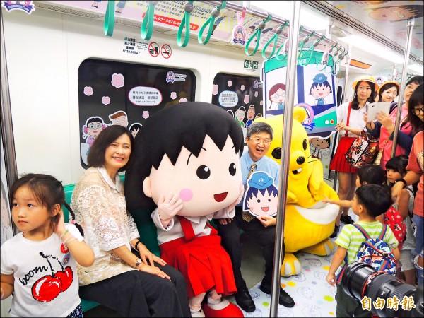 高捷推動多元化經營,運量穩定成長,圖為小丸子彩繪列車系列活動,受到民眾歡迎。 (記者王榮祥攝)