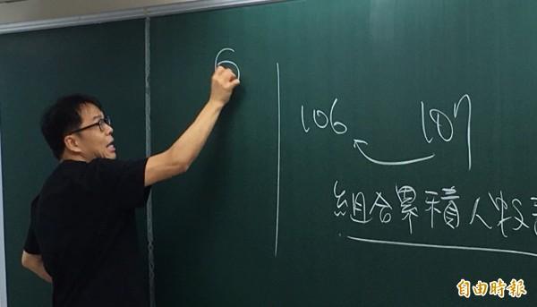 升學輔導專家劉駿豪今分析,大學熱門科系落點預估,建議考生夢幻科系可以勇敢往前填30個。(記者林曉雲攝)
