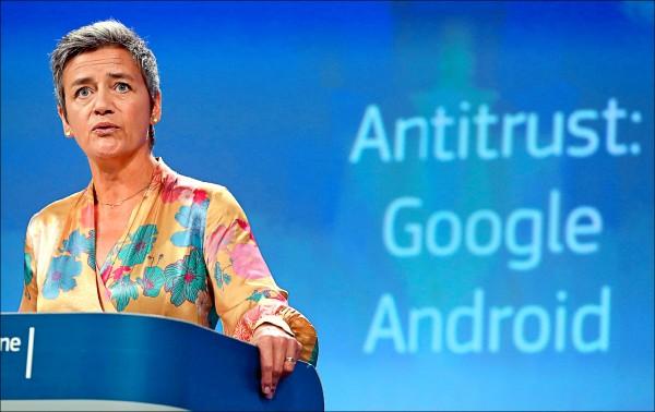 經過一年調查,歐盟執委會週三以Google濫用Android作業系統的支配地位為由,裁罰Google四十三.四億歐元(約台幣一五六五億元),創歐盟對單一企業反壟斷罰金的最高紀錄。(法新社)