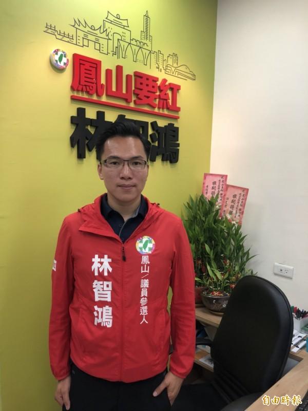 綠選將林智鴻批韓國瑜「髮夾彎」支持捷運黃線,應先為國民黨擋前瞻道歉。(記者陳文嬋攝)