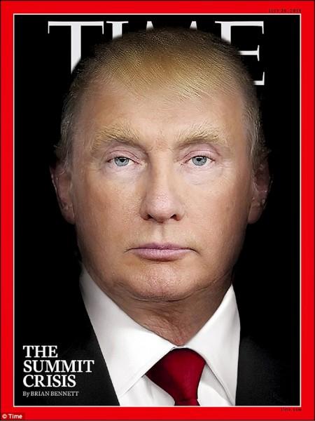 時代雜誌最新一期封面為美國總統川普逐漸變臉成為俄國總統普廷。在該封面的網路動畫版中,整個變臉過程僅需十五秒。時代雜誌指出,該形象代表赫爾辛基雙普會後,美國外交政策上面臨特殊時刻。(取自網路)