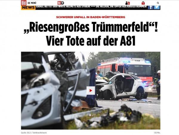 德國巴登-符登堡邦(Baden-Württemberg)一處高速公路,發生一起10車相撞的重大連環車禍,至少4人死亡、4人重傷。(圖擷自《圖片報》)