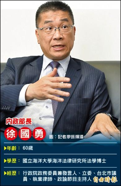 內政部長徐國勇。(記者廖振輝攝)