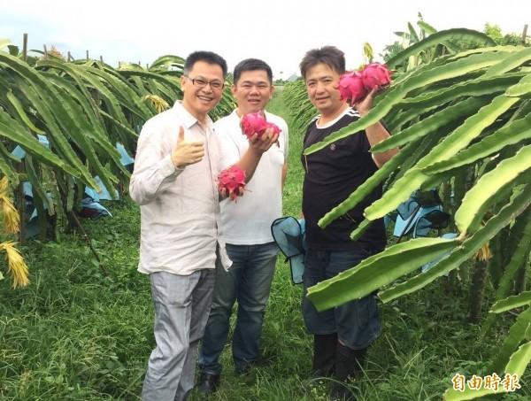 陳勝得(右)經常花上數倍時間在田間管理,才能種出高品質水果。(陳勝得提供)