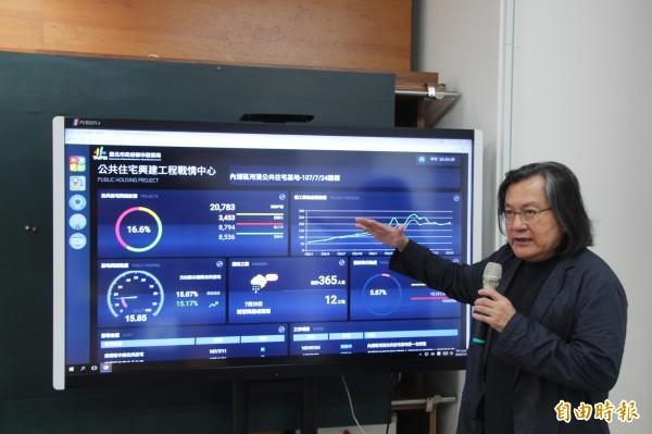 林洲民說,這是全台灣第1個用儀表方式揭露給民眾公宅推動資訊,包括地區位置、公宅房型、設施及工程進度都一覽無遺,更搭配即時工地攝影,讓民眾可以隨時監看工地狀況。(記者鍾泓良攝)