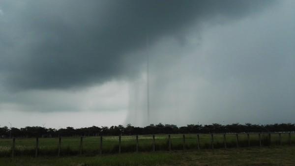 傾盆大雨中竟然有一條垂直的線條,像是一條通往天際的吸管似的。(王盛臨提供)