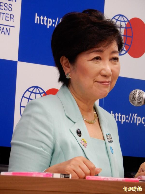 東京都知事小池百合子23日應日本「公益財團法人對外新聞中心」(FPCJ)邀請,向駐日外國記者說明東奧的抗暑對策。(記者林翠儀攝)